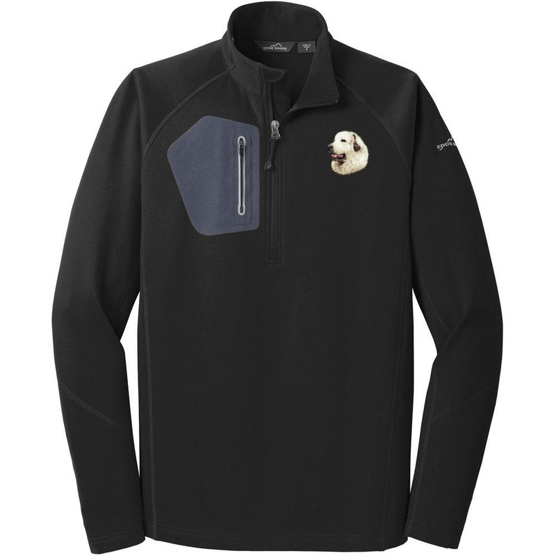 Embroidered Eddie Bauer Mens Half Zip Performance Fleece Black 2X-Large Great Pyrenees D27