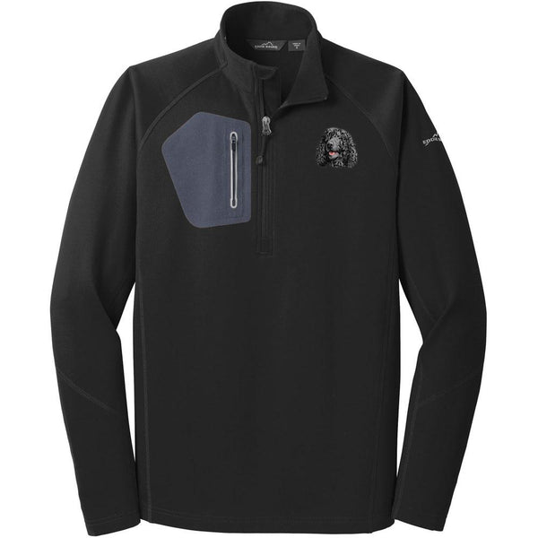 Embroidered Eddie Bauer Mens Half Zip Performance Fleece Black 2X-Large Irish Water Spaniel D145