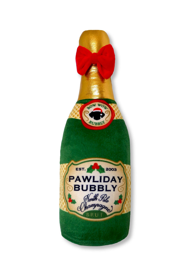 Holiday Champagne Plush Bottle Dog Toy