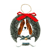 Basset Hound Wreath and Bone Ornament