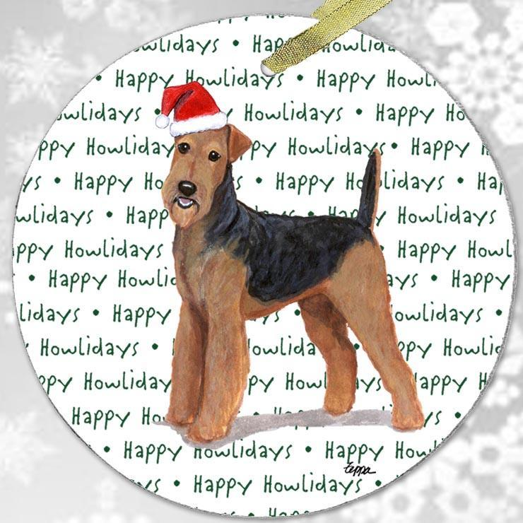 "Airedale Terrier ""Happy Howlidays"" Ornament"