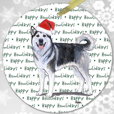 "Alaskan Malamute ""Happy Howlidays"" Ornament"