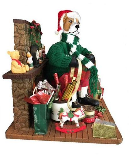 American Staffordshire Terrier Santa Gift Wrapper Statue
