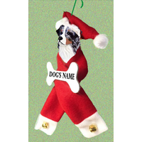 Australian Shepherd Santa Bone Ornament