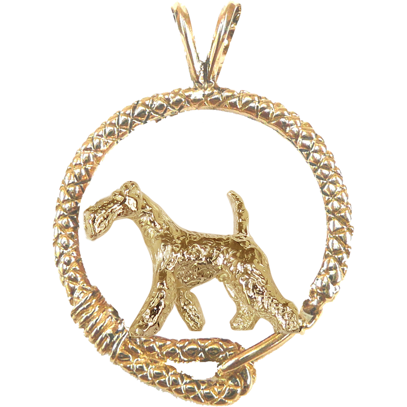 Solid 14K Gold Airedale Terrier Leash Pendant