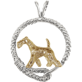 Solid 14K Gold Airedale Terrier in Sterling Silver Leash Pendant
