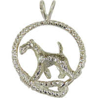 Airedale Terrier in Solid Sterling Silver Leash Pendant