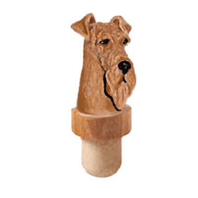 Airedale Terrier Head Cork Bottle Stopper