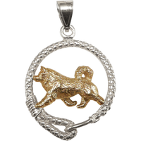 Solid 14K Gold Alaskan Malamute in Sterling Silver Leash Pendant
