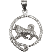 Alaskan Malamute in Solid Sterling Silver Leash Pendant