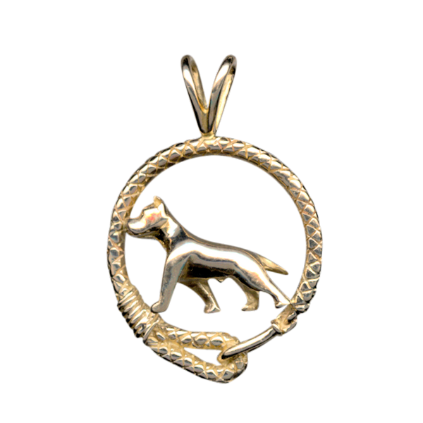 Solid 14K Gold American Staffordshire Terrier Leash Pendant