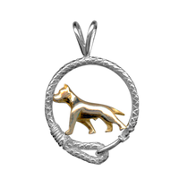 Solid 14K Gold American Staffordshire Terrier in Sterling Silver Leash Pendant