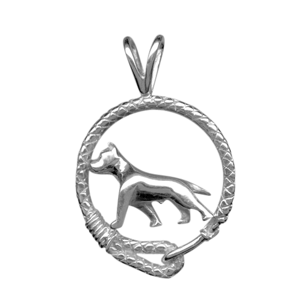 American Staffordshire Terrier in Solid Sterling Silver Leash Pendant