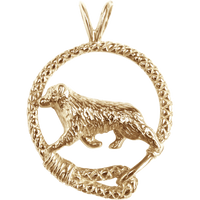 Solid 14K Gold Australian Shepherd Leash Pendant