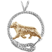 Solid 14K Gold Australian Shepherd in Sterling Silver Leash Pendant