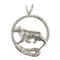 Australian Shepherd in Solid Sterling Silver Leash Pendant