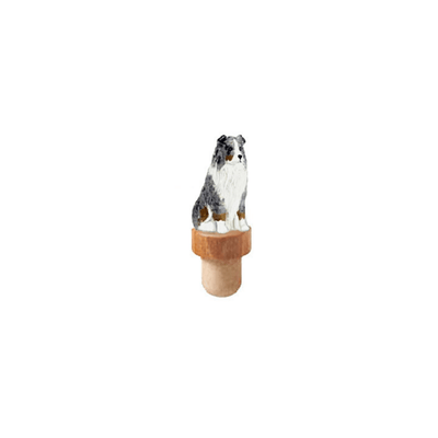 Australian Shepherd Figure Cork Bottle Stopper