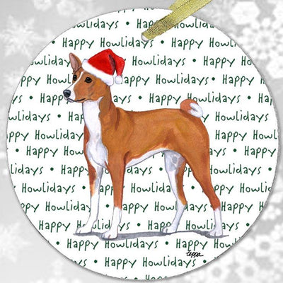 "Basenji ""Happy Howlidays"" Ornament"