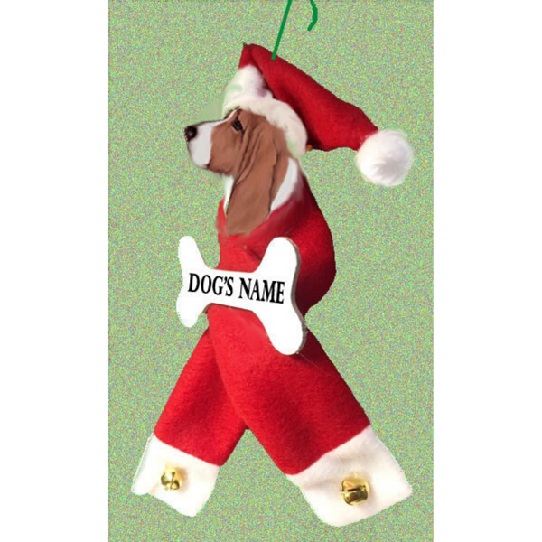 Basset Hound Santa Bone Ornament