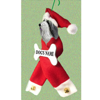 Bearded Collie Santa Bone Ornament