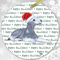 "Bedlington Terrier ""Happy Howlidays"" Ornament"