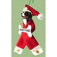 Bernese Mountain Santa Bone Ornament