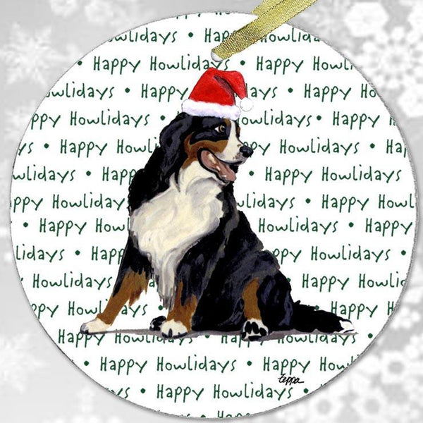 "Bernese Mountain Dog ""Happy Howlidays"" Ornament"