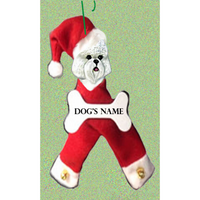 Bichon Frise Santa Bone Ornament