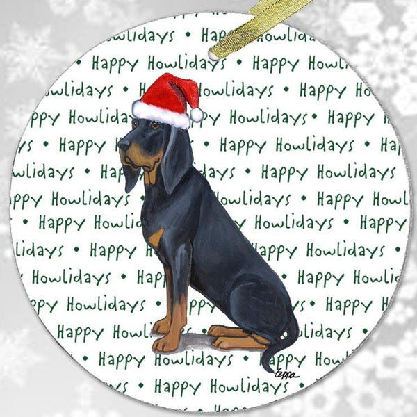 "Black and Tan Coonhound ""Happy Howlidays"" Ornament"