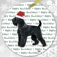 "Black Russian Terrier ""Happy Howlidays"" Ornament"