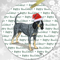"Bluetick Coonhound ""Happy Howlidays"" Ornament"
