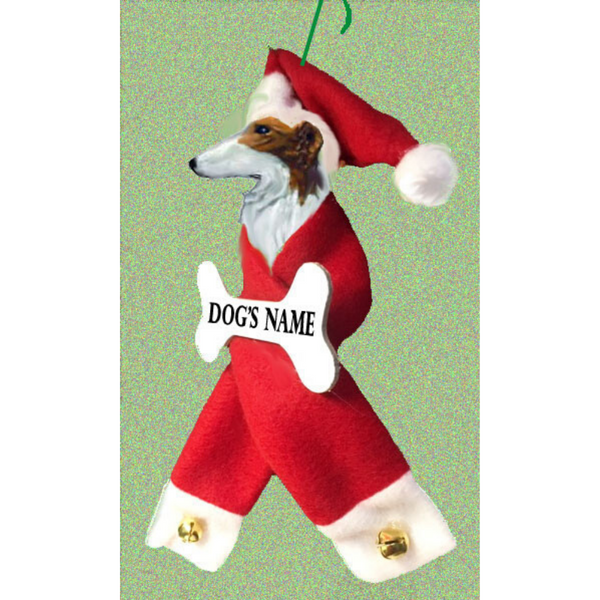 Borzoi Santa Bone Ornament