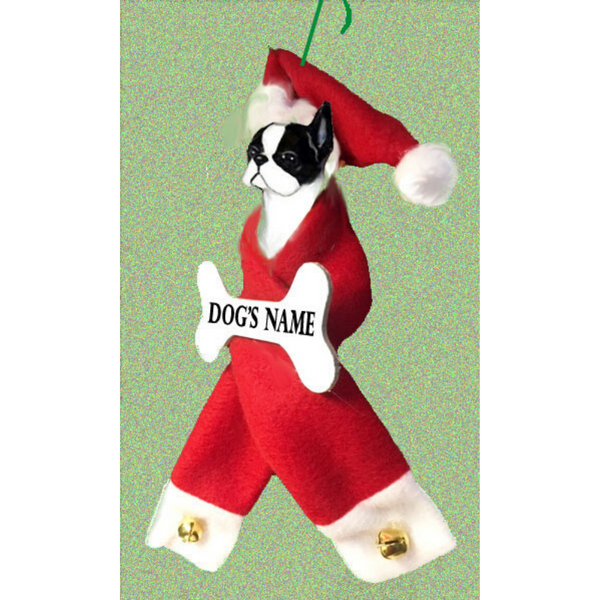 Boston Terrier Santa Bone Ornament