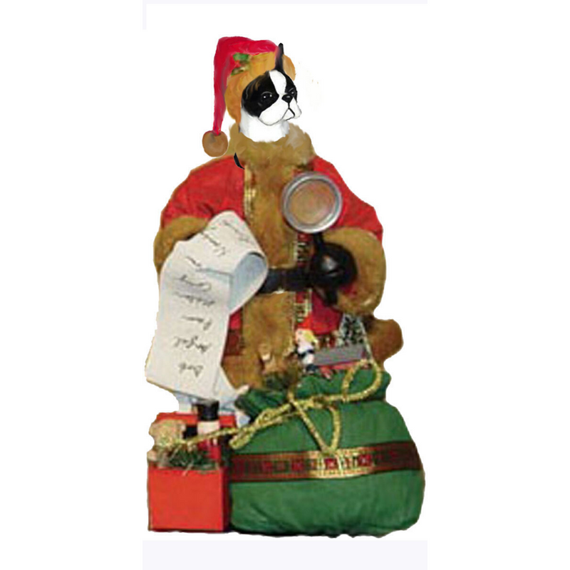 Boston Terrier Toy List Santa Statue