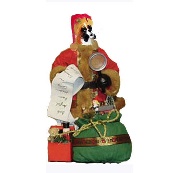 Boxer Toy List Santa Statue