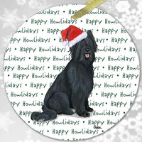 "Briard, Black ""Happy Howlidays"" Ornament"