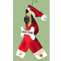 Briard Santa Bone Ornament