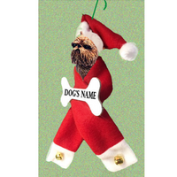 Brussels Griffon Santa Bone Ornament