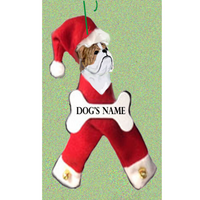 Bulldog Santa Bone Ornament