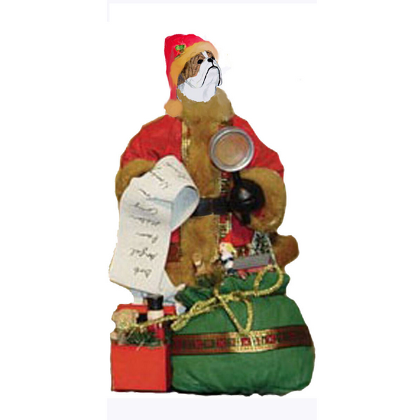 Bulldog Toy List Santa Statue
