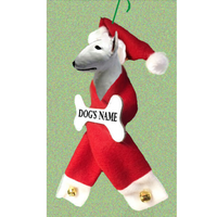 Bull Terrier Santa Bone Ornament
