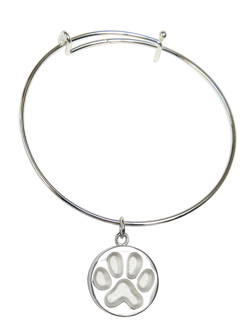Sterling Silver Paw Impression Charm with Stainless Bangle
