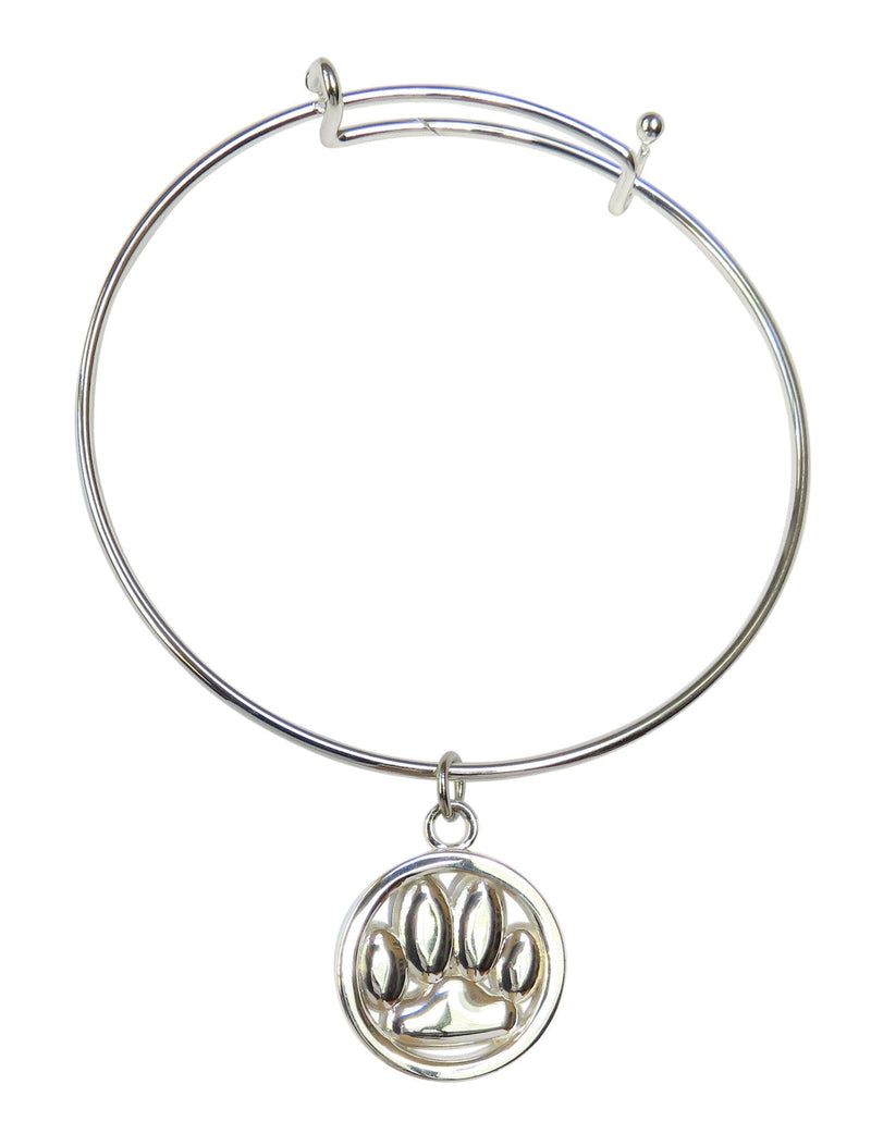 Sterling Silver Openwork Dog Paw Charm with Stainless Bangle
