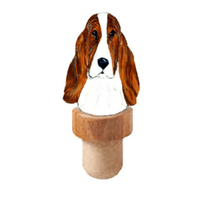 Basset Hound Head Cork Bottle Stopper