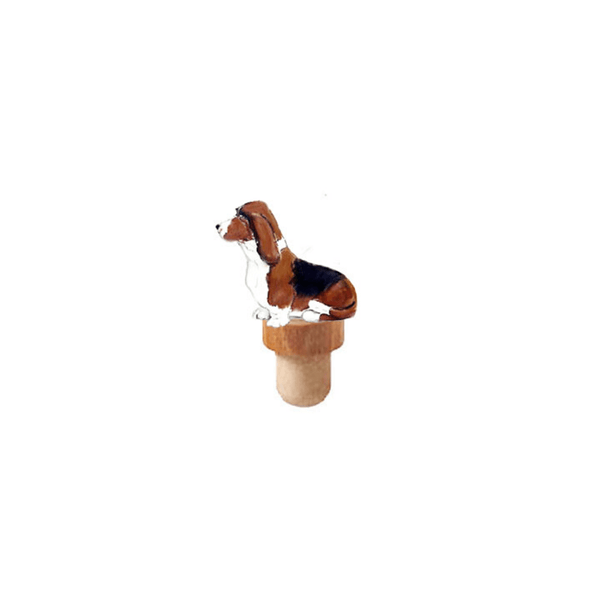 Basset Hound Figurine Cork Bottle Stopper