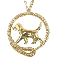 Solid 14K Gold Beagle Leash Pendant