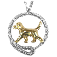 Solid 14K Gold Beagle in Sterling Silver Leash Pendant