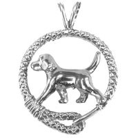 Beagle in Solid Sterling Silver Leash Pendant