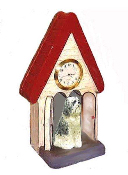 Bearded Collie Figurine Clock
