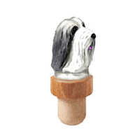 Bearded Collie Head Cork Bottle Stopper